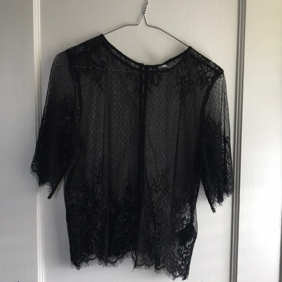85b3f5570eea7a Divided Tops - DIVIDED by H M Sheer Lace Blouse